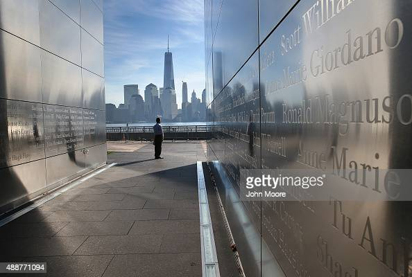An immigrant from Colombia walks through the New Jersey Empty Sky 9/11 Memorial at Liberty State Park on September 17 2015 in Jersey City New Jersey...