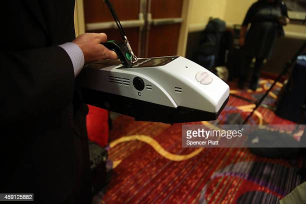 An Implant Sciences Quantum Sniffer device which is used to detect traces of explosive material is viewed on November 17 2014 in New York City...