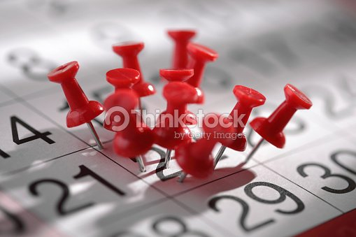 An important date that's been marked a lot with thumbtacks  : Stock Photo