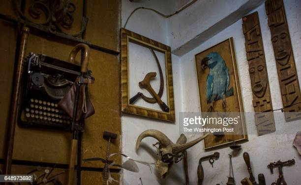 An improvised hammerandsickle incorporates the head of a cane in Mikhail Smaglyuk's workshop in Krasnodar Russia