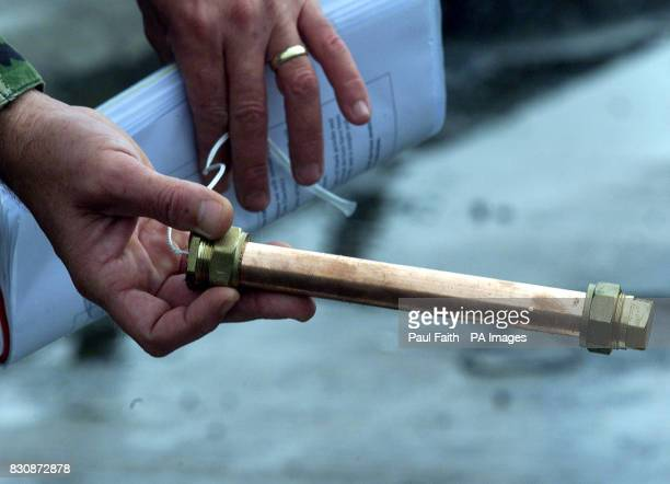 An improvised pipe bomb shown to the media at Ballykinler Army base in Co Down Northern Ireland during a demonstration by bomb disposal experts *...