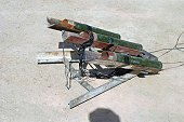An improvised rocket launcher used by anti-coalition forces, captured by US Marine Corps Marines assigned to the1st Marine Division, outside Forward Operating Base (F0B) Blue Diamond, located in the A