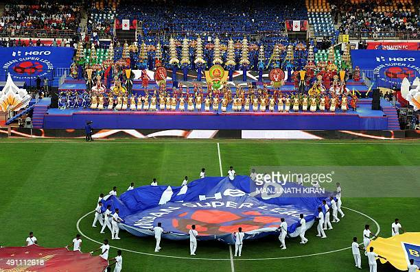 An inaugration ceremony is performed before the start of the Indian Super League football match between Chennaiyin FC and AtleticodeKolkata in...