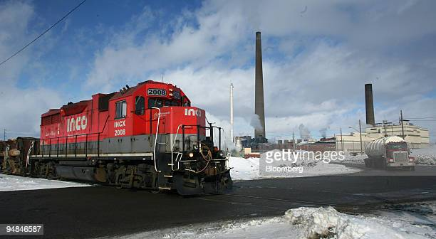 An Inco slag train pictured at left February 13 takes molten refuse every few hours from the Inco nickel refinery in Copper Cliff a suburb of Sudbury...