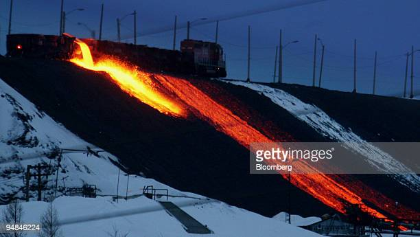 An Inco slag train pours molten refuse every few hours from the Inco nickel refinery in Copper Cliff a suburb of Sudbury Ontario Canada February 14...