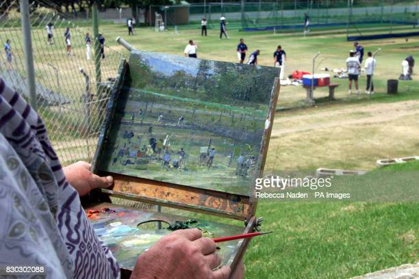 An incomplete oil painting of an England practice session by Tom Coat Mr Coat from Hampshire has been commissioned by the MCC to paint and draw the...