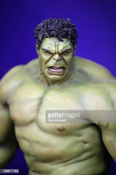 An Incredible Hulk toy is displayed on a trade stand during the 2013 London Toy Fair at Olympia Exhibition Centre on January 22 2013 in London...