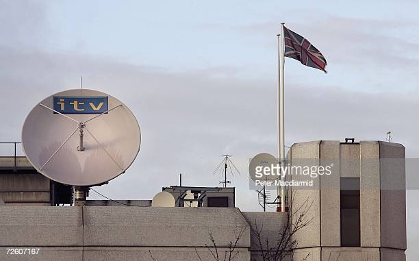 An Independent Television satellite dish sits on top of The London Television Studios on November 20 2006 in London Satellite broadcaster BSkyB has...