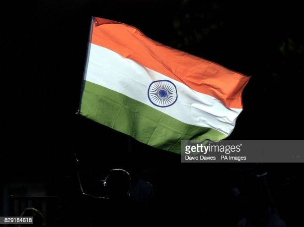An India fan waves his flag during The NatWest Series one day international at the County Ground Bristol between India and Sri Lanka