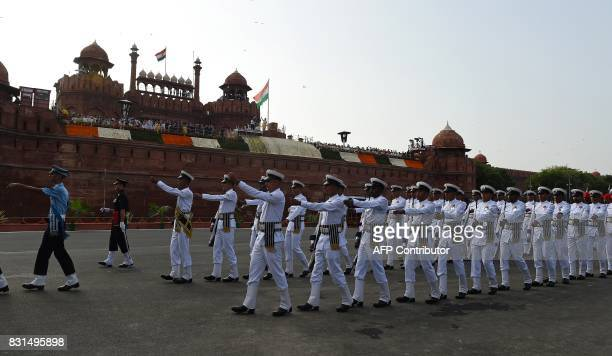 An Indian armed forces contingent marches past during the country's 71st Independence Day celebrations which marks the 70th anniversary of the end of...