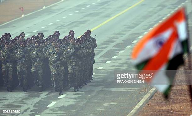 An Indian Army commando contingent marches past during the Republic Day Parade in New Delhi on January 26 2016 Thousands gathered in New Delhi amid...