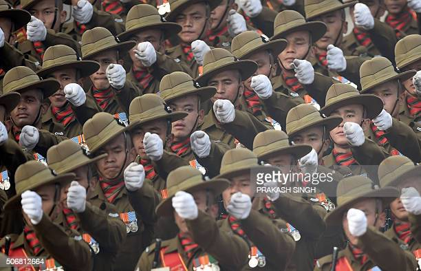 An Indian Army contingent marches past during the Republic Day Parade in New Delhi on January 26 2016 Thousands gathered in New Delhi amid tight...