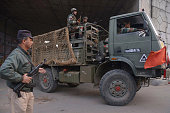 An Indian Army truck transports troops to the air force base in Pathankot on January 4 2016 Indian troops backed by helicopters searched an air force...