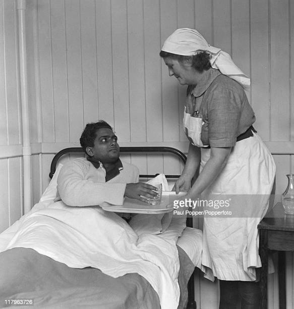 An Indian athlete in hospital with chicken pox at the Olympic training centre at Uxbridge Middlesex during the London Olympics July 1948