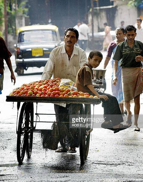 An Indian boy hitches a ride on his father's mobile vendor's cart as they canvas the streets of Bombay 12 September 2004 selling tomatoes The...