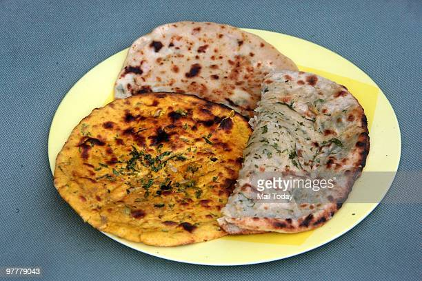 An Indian bread or roti platter can be seen New Delhi on March 13 2010 Indian breads pack in plenty of tasty nutrition