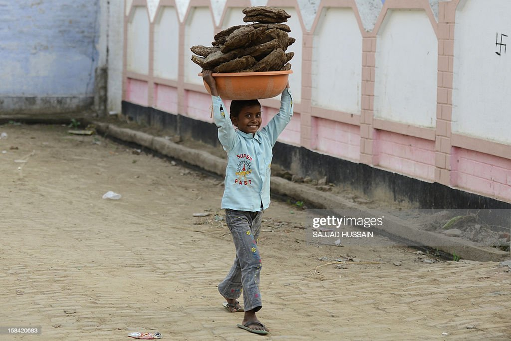 An Indian child carries dried cow dung, used as fuel, over his head at a village in Bulandshahr on December 16,2012. The latest study from the National Sample Survey Office, a huge undertaking every two years, shows that average monthly per capita expenditure for a rural household was just 1,281 rupees compared with 2,401 rupees in cities.