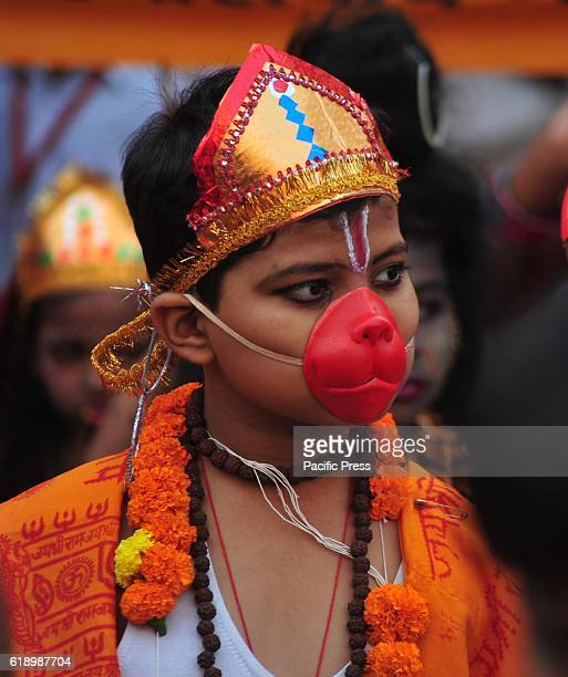 An Indian child dressed as monkey god Hanuman take part in a religious procession on the occasion of Hanuman Jayanti in Allahabad Hanuman Jayanti...