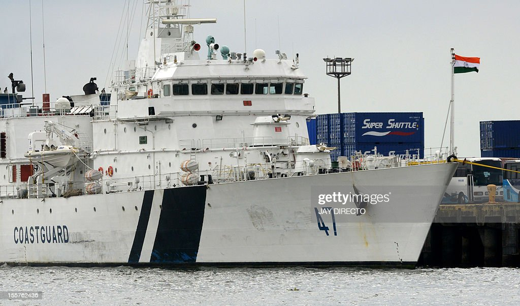 An Indian coastguard patrol ship Samrat with 60 crew is berth in a Manila pier as she arrives on November 8, 2012. The patrol ship is in Manila for a four-day goodwill visit and training exercise with the Philippine coastguard. AFP PHOTO / JAY DIRECTO