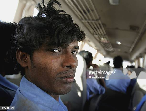 An Indian expatriot construction worker from Madras travels home on a bus with his colleagues on April 1 2006 in Dubai United Arab Emirates Nearly...
