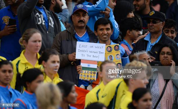 An Indian fan holds up a sign during the ICC Women's World Cup 2017 match between Australia and India at The 3aaa County Ground on July 20 2017 in...