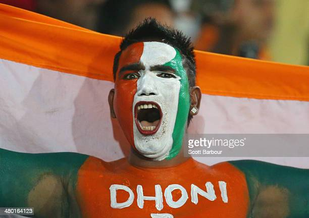 An Indian fan shows his support in the crowd during the ICC World Twenty20 Bangladesh 2014 match between West Indies and India at ShereBangla Mirpur...