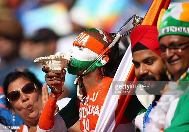 An Indian fans show their support during the 2015 ICC Cricket World Cup match between India and the United Arab Emirates at WACA on February 28 2015...