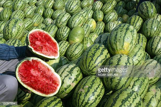 An Indian farmer displays a halved watermelon for inspection to traders participating in an auction at a wholesale fruit market on the outskirts of...