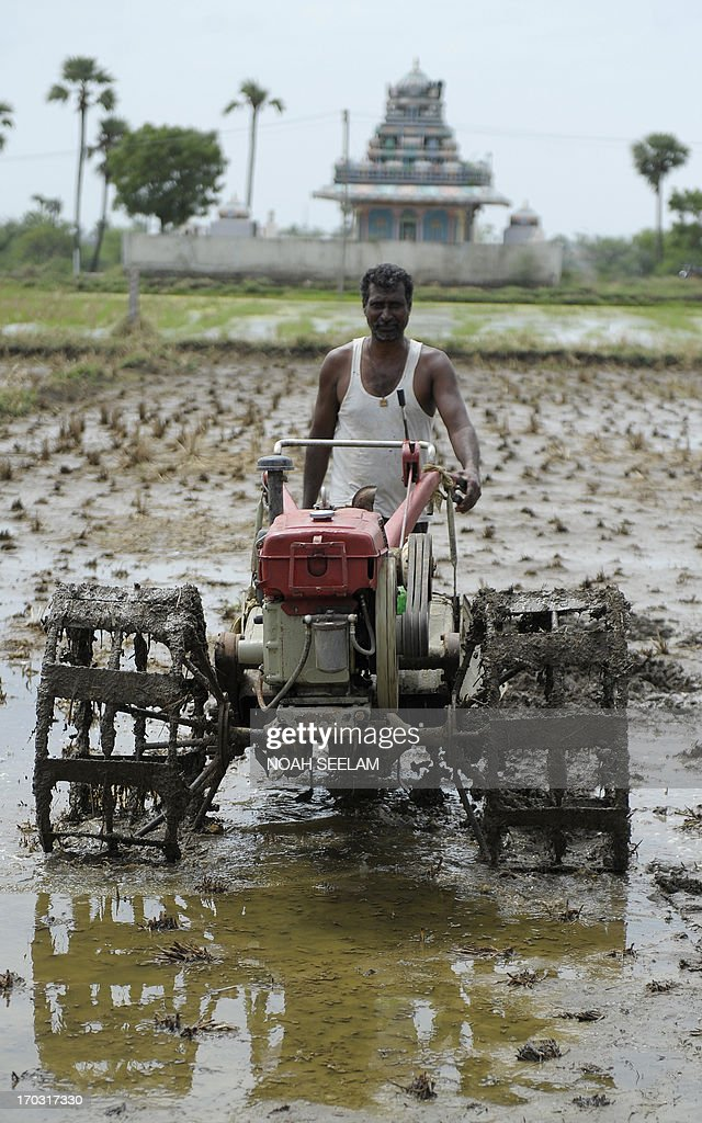 An Indian farmer ploughs a field as part of preparations for paddy crop planting on the outskirts of Hyderabad on June 11, 2013. India's monsoon rains are the main source of irrigation for the nation's 235 million farmers who depend on the timing of the monsoon in order to decide which crops to grow.The farm sector accounts for about 15 percent of a nearly USD 2-trillion economy, Asia's third-biggest.AFP PHOTO/ Noah SEELAM