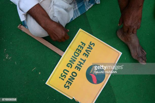 An Indian farmer takes part in a protest organised by different organisations in New Delhi on November 21 2017 Hundreds of farmers are gathering in...
