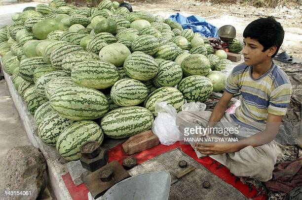 An Indian fruit vendor Salim sits beside his stock of watermelons at s roadside stall while waiting for customers in New Delhi 30 May 2006 With the...