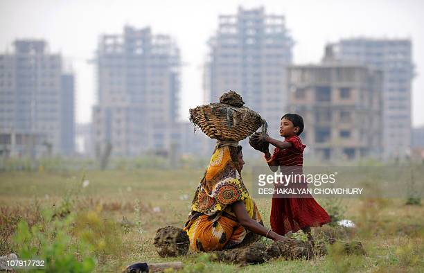 An Indian girl assist her mother to collect cow dung to be used as cooking fuel outside a construction site at 'New Town' on the outskirts of Kolkata...