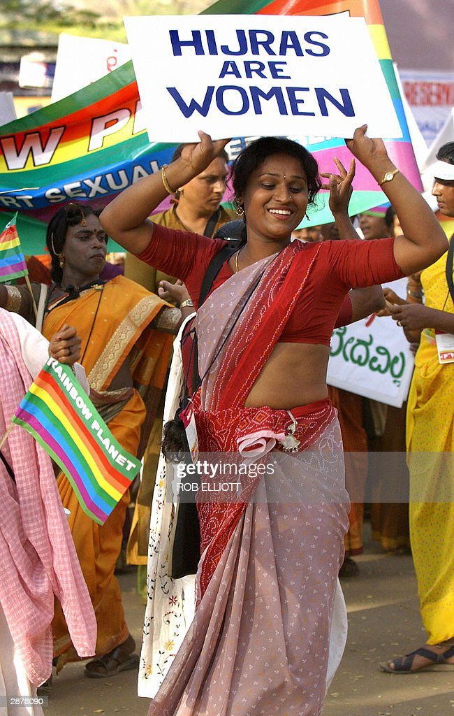 An Indian Hijra or transexual leads a protest march of sexual workers at the 2004 World Social Forum in Bombay 18 January 2004 Antiglobalisation...