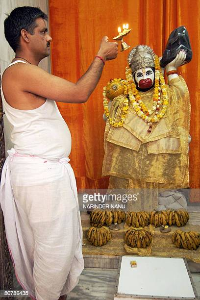 An Indian Hindu priest performs 'aarti' prayers in the front of a statue of Hindu God Hanuman at a temple in Amritsar on April 20 2008 Hindus...