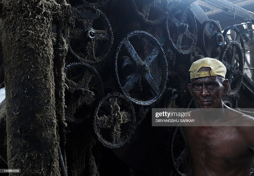 An Indian labourer poses beside a machine inside a jute mill at Jagatdal some 75kms north of Kolkata on May 14, 2012. Jute is a crop which relies heavily on rainfall and cultivation is chiefly concentrated in South Asia, it is the cheapest vegetable fibre procured from the bast or skin of the plant's stem and the second most important vegetable fibre after cotton, in terms of usage, global consumption, production, and availability. It has high tensile strength, low extensibility, and ensures better breathability of fabrics. Jute fibre is 100% bio-degradable and recyclable and thus environmentally friendly. The British East India Company was the first jute trader in South Asia and established links with European countries notably Dundee in Scotland which gave rise to 'The Jute Barons' who eventually set up mills on the outskirts of Kolkata. In the 21st century jute has a variety of uses such as grain bags, home textiles, floor coverings and even footwear in the form of espadrilles. AFP PHOTO/ Dibyangshu SARKAR