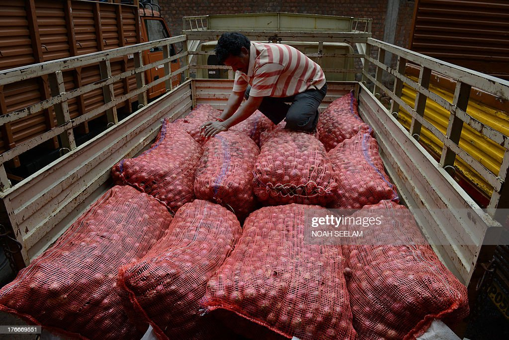 An Indian labourer positions onion bags on a vehicle at a wholesale market yard in Hyderabad on August 17, 2013. India's food inflation rate rose to an annualized 9.5 percent led by a spike in onion prices which were up 34 percent from June. Onion prices have been rising in India as the crop has been hit by excessive rains. AFP PHOTO/Noah SEELAM