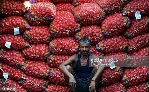 An Indian labourer takes a break from unloading sacks of onions from a truck at Mundera wholesale market in Allahabad on September 9 2015 The cost of...