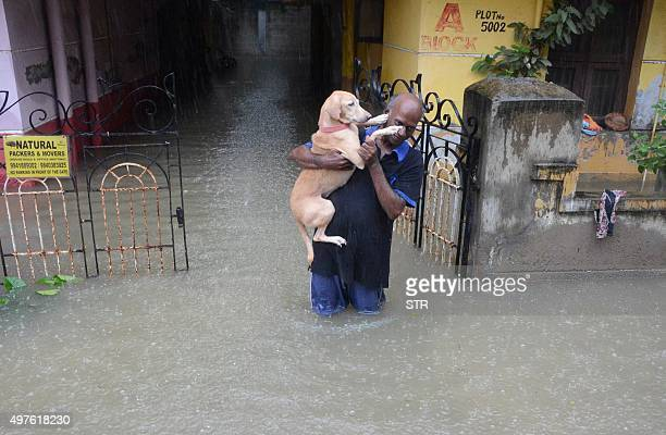 An Indian man carries his dog on a flooded street following heavy rain in Chennai on November 16 2015 Large areas of the southern Indian city of...