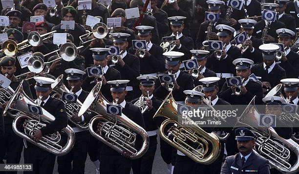 An Indian military band performs in front of the Presidential Palace complex during rehearsals for the Beating the Retreat ceremony as the part of...