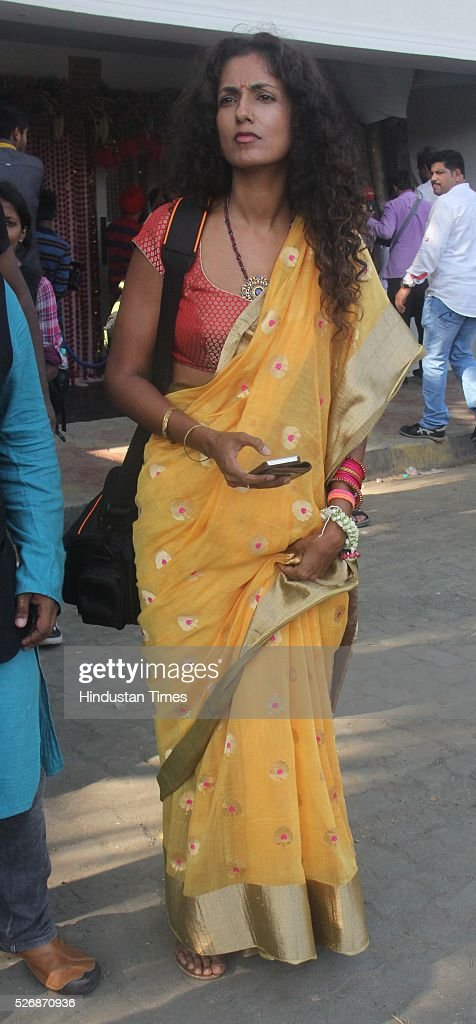 An Indian Model Sheetal Mallar during a Mehndi ceremony of Bollywood actors Karan Singh Grover and Bipasha Basu at Villa 69, Juhu on April 29, 2016 in Mumbai, India. The day started for the couple with a haldi ceremony. In the evening, the couple will wed according to Bengali rituals at a south Mumbai hotel. It will be followed by a dinner.