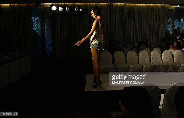 An Indian models takes part in auditions for The Delhi Fashion Week in New Delhi on September 2 2008 Delhi Fashion Week is scheduled to be held in...