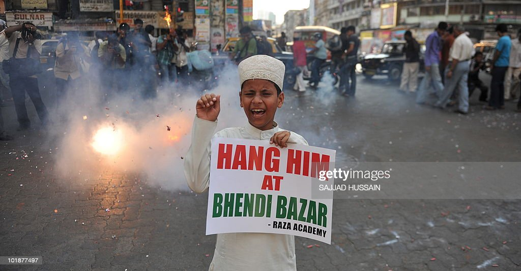 An Indian Muslim child shouts antiPakistani slogans during a rally celebrating the sentencing of Mohammed Ajmal Amir Kasab in Mumbai on May 6 2010...