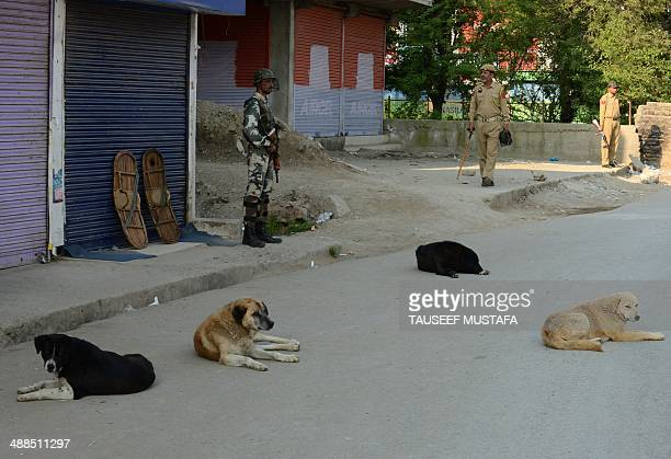 An Indian paramilitary trooper and policemen stand guard in a deserted street of Sopore in restive Kashmir's Baramulla constituency on May 7 where...