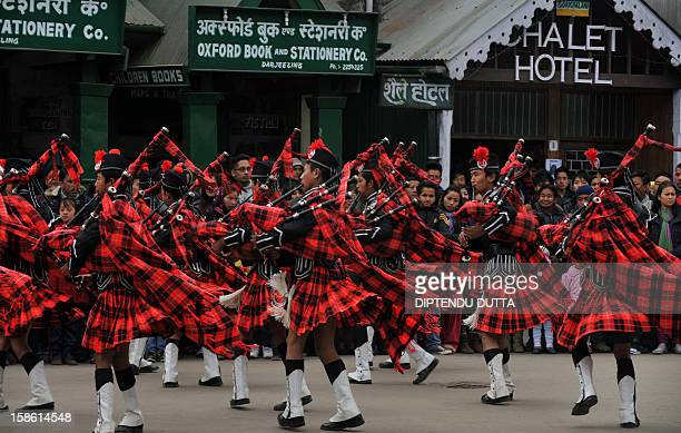 An Indian pipe band perform as a part of promotional event of The Darjeeling Tea and Tourism Festival in Darjeeling on December 21 2012 The recently...