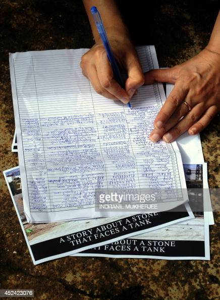 An Indian protestor signs a petition during an antiIsrael protest in Mumbai on July 20 2014 Thousands of protesters from London to India rallied to...