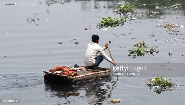 TOPSHOT An Indian ragpicker collects coconuts from the waters of the polluted Yamuna river in New Delhi on May 9 2017 According to the Central...