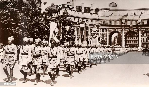 An Indian regiment passing through Admiralty Arch during the Victory March and Peace Pageant following the conclusion of World War One held in London...