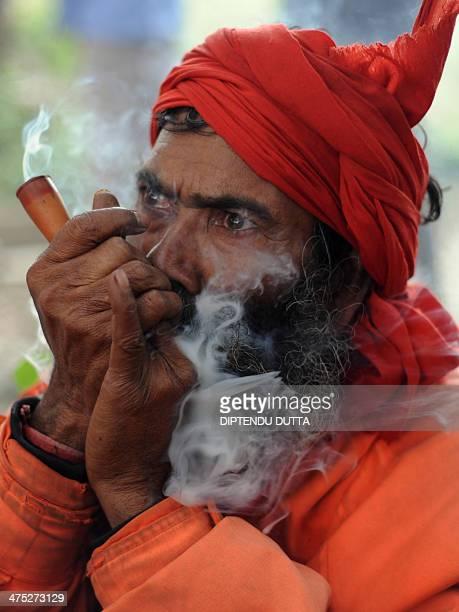 An Indian Sadhu smokes marijuna during Maha Shivaratri at Chadmani Shiva temple in Siliguri on February 27 2014 The festival of Maha Shivaratri is...