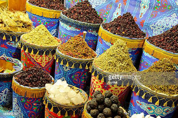 An Indian spice market with a variety of spices