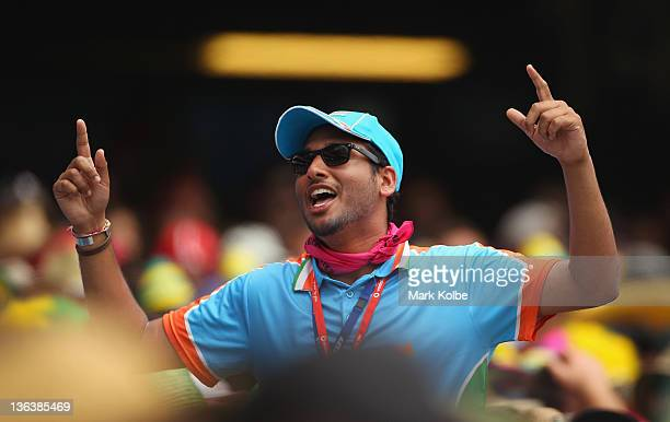 An Indian supporter in the crowd cheers during day two of the Second Test Match between Australia and India at the Sydney Cricket Ground on January 4...